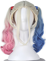 Movie Cosplay Quinn Women's Long Curly Dyeing Pink/Blue Halloween Cosplay Wig
