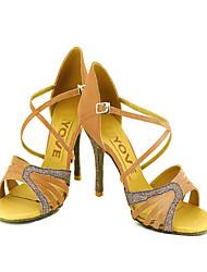 Women's Dance Shoes Latin/Salsa Satin/Leatherette Heel Black/Blue/Yellow/Pink/Purple/Red/White/Fuchsia Customizable