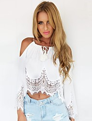 cheap -Women's Embroidery Beach/Casual Lace Hem Long Sleeve Short T-shirt