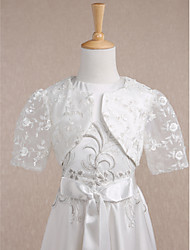 Kids' Wraps Shrugs Short Sleeve Lace Ivory Wedding / Party/Evening Scoop Lace Open Front