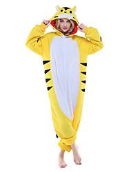 Kigurumi Pajamas New Cosplay® Tiger Leotard/Onesie Festival/Holiday Animal Sleepwear Halloween Yellow Patchwork Polar Fleece Kigurumi For