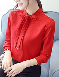 Feminino Blusa Formal Trabalho Simples Fofo Primavera Outono,Sólido Poliéster Colarinho de Camisa Manga Longa Fina