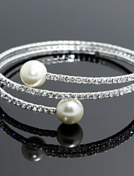 cheap -18k Silver Crystal Pearl Double Layer Elastic Bangle Bracelet for Women