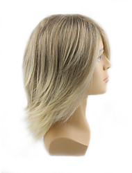 cheap -Synthetic Wig Wavy With Bangs Synthetic Hair Blonde Wig Men's / Women's Mid Length Capless