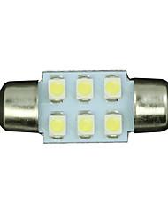 2pcs White 31mm 6-SMD Festoon Dome Map Interior LED Light Lamp DE3175 3022