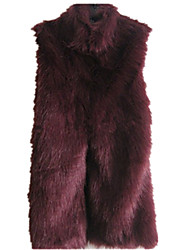 Women's Plus Size / Casual/Daily Sexy / Simple Fur Coat,Solid Stand Sleeveless Fall / WinterBlue / White / Beige /