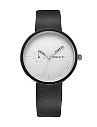 cheap -REBIRTH Men's Quartz Wrist Watch / Casual Watch PU Band Casual Minimalist Fashion Black White