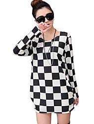 baratos -Mulheres Camiseta Casual Moda de Rua Outono,Quadriculada Branco Cashmere Decote Redondo Manga Longa Média