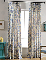 cheap -Rod Pocket Grommet Top Tab Top Double Pleat Pencil Pleat Two Panels Curtain Modern European Mediterranean Neoclassical Country, Print Leaf
