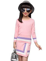 Girls' Casual/Daily Striped Sets,Rayon Spring Fall Winter Long Sleeve Clothing Set