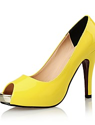 economico -Per donna Scarpe Sintetico / Vernice Estate / Autunno Club Shoes Sandali A stiletto Nero / Giallo / Tessuto almond / Matrimonio / Formale