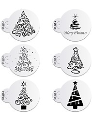 cheap -6pcs/lots Christmas Trees Decorating Coffee Stencil Plastic Cookie Stencil ST-925