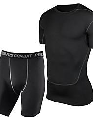 Per uomo T-shirt e pantaloncini da corsa Senza maniche Asciugatura rapida Traspirante Compressione Set di vestiti per Yoga Esercizi di