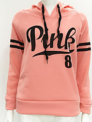 cheap -Women's Long Sleeves Cotton Hoodie - Striped Letter
