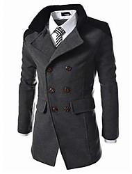 abordables -Manteau Longue Homme - Couleur Pleine, Travail Mao Coton