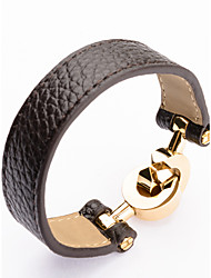 High Quality Titaninum Steel Double Circles Crossing Wide Band Leather Bangle Christmas Gifts
