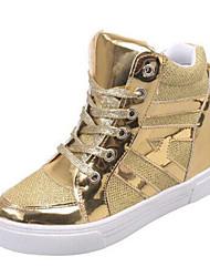 abordables -Mujer Zapatos Semicuero Primavera Otoño Zapatillas de deporte Paseo Tacón Cuña Con Cordón para Casual Al aire libre Negro Plata Dorado
