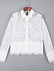 cheap -Women's Shirt - Solid Colored Lace Shirt Collar