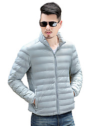 cheap -Men's Regular Down Coat,Casual Daily Solid-Polyester White Duck Down Long Sleeves Stand