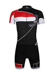 baratos -ILPALADINO Homens Manga Curta Camisa com Shorts para Ciclismo - Vermelho Moto Conjuntos de Roupas, Tapete 3D, Secagem Rápida, Resistente
