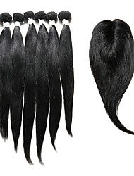 cheap -7 Pieces/Lot Straight Hair Human Hair Weaves With Closure Color 1b Natural Black (14inch16inch18inch)