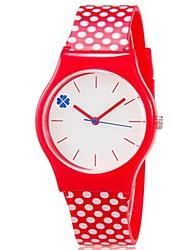 Infantil Relógio de Pulso Quartzo Colorido Plastic Banda Pontos Doce Legal Casual Vermelho Vermelho