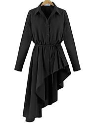 economico -Camicia Vestito Da donna-Casual Taglie forti Moda città Tinta unita Colletto Asimmetrico Manica lunga Rayon PoliesterePer tutte le