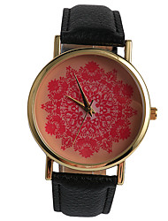Fashion Beautiful Big Red Flower Paper-Cut Ladies Watch