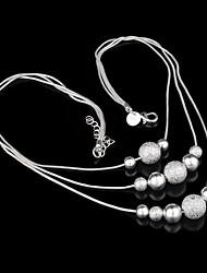 Недорогие -Жен. Комплект ювелирных изделий - Стерлинговое серебро Шарообразные Дамы, Классический, Простой стиль, Мода Включают Серьги-слезки Ожерелья с подвесками Серебряный Назначение