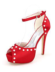 preiswerte -Damen Schuhe Satin Frühling Sommer Pumps Hochzeit Schuhe Null Stöckelabsatz Peep Toe Null Imitationsperle Schnalle Ausgehöhlt für