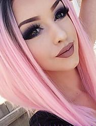 Donna Parrucche sintetiche Lace frontale Lisci Rosa parrucca del merletto Parrucca di Halloween Parrucca di carnevale costumi parrucche