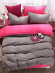economico -bedtoppings consolatore copripiumino trapunta 4pcs set matrimoniale lamiera piana federa di colore solido tessuto in microfibra reversibili
