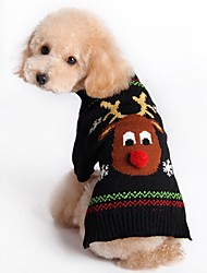 cheap -Cat Dog Sweater Christmas Dog Clothes Christmas New Year's Reindeer Black Red Costume For Pets