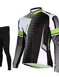 TASDAN Cycling Jersey with Tights Men's Long Sleeves Bike Pants/Trousers/Overtrousers Jersey Tights Tops Clothing Suits Quick Dry Front