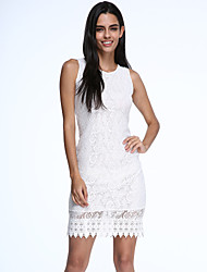 Women's Lace Party Bodycon Dress Round Neck Knee-length Sleeveless White/Black Cotton Summer Micro-elastic Opaque