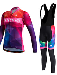 cheap -Miloto Women's Long Sleeves Cycling Jersey with Bib Tights - Red Bike Clothing Suits, Thermal / Warm, Quick Dry, Fleece Lining,