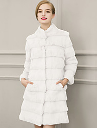 Women's Plus Size / Casual/Daily Street chic Fur CoatSolid Stand  Sleeve Winter White / Black Faux Fur Thick