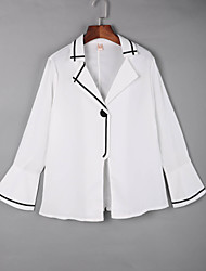 cheap -Women's Daily Casual Fall ShirtSolid Shirt Collar Long Sleeve White / Black Cotton Medium