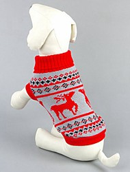 cheap -Cat Dog Sweater Dog Clothes Classic Christmas Reindeer Black Red Costume For Pets