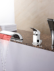 Contemporary Tub LED/ Waterfall/ Handshower with Ceramic Valve 1- Handle 3- Holes for Chrome  Bathtub Faucet