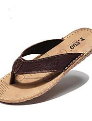 cheap -Men's Slippers & Flip-Flops Summer Leather Casual Flat Heel  Brown
