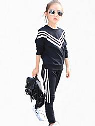 Ensemble de Vêtements Fille de Couleur Pleine Décontracté / Quotidien Coton Toutes les Saisons / Printemps / Automne Noir / Blanc