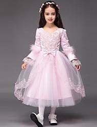 robe de bal longueur de thé robe de fille de fleur - manches longues en tulle v-neck avec applique par lovelybees