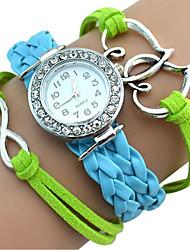 Недорогие -Женские Дети Модные часы Часы-браслет С двумя часовыми поясами / Кварцевый Японский кварц PU Группа Heart Shape Богемные Повседневная