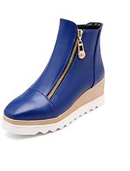 Žene Cipele Umjetna koža Jesen Čizme Hodanje Ravna potpetica Patent-zatvarač za Kauzalni Obala Crn Bijela Plava