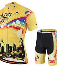 cheap -Miloto Men's Short Sleeves Cycling Jersey with Shorts - Yellow Geometic Bike Shorts Jersey Clothing Suits, Quick Dry, Breathable,