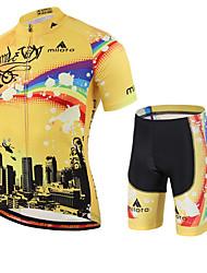 Недорогие -Miloto Муж. С короткими рукавами Велокофты и велошорты - Желтый геометрический Велоспорт Шорты Джерси Наборы одежды, Быстровысыхающий,