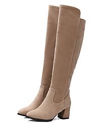 baratos -Mulheres Sapatos Courino Outono / Inverno Botas da Moda Botas Salto Robusto Ponta Redonda Ziper Preto / Amêndoa / Vinho
