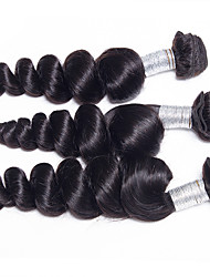 3Pcs/Lot 300g 20-24inch Brazilian Virgin Hair Loose Wave Natural Black Unprocessed Human Hair Weaves