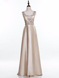 cheap -A-Line Square Neck Floor Length Satin Formal Evening Dress with Beading Pleats by Shang Shang Xi